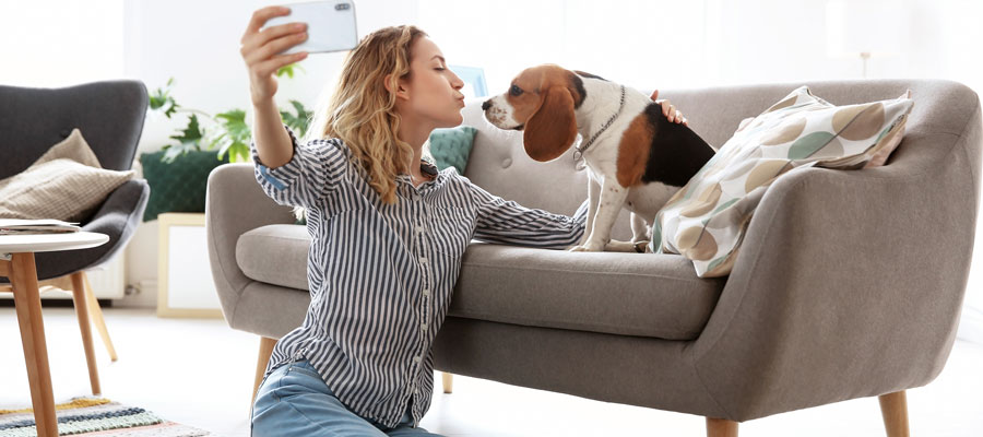 Taking a selfie with your dog